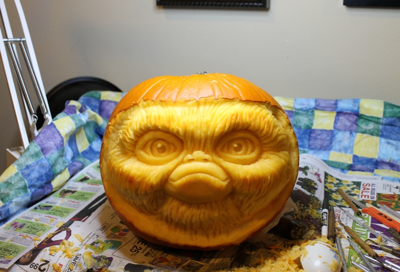 Freshly carved, and without the ears....