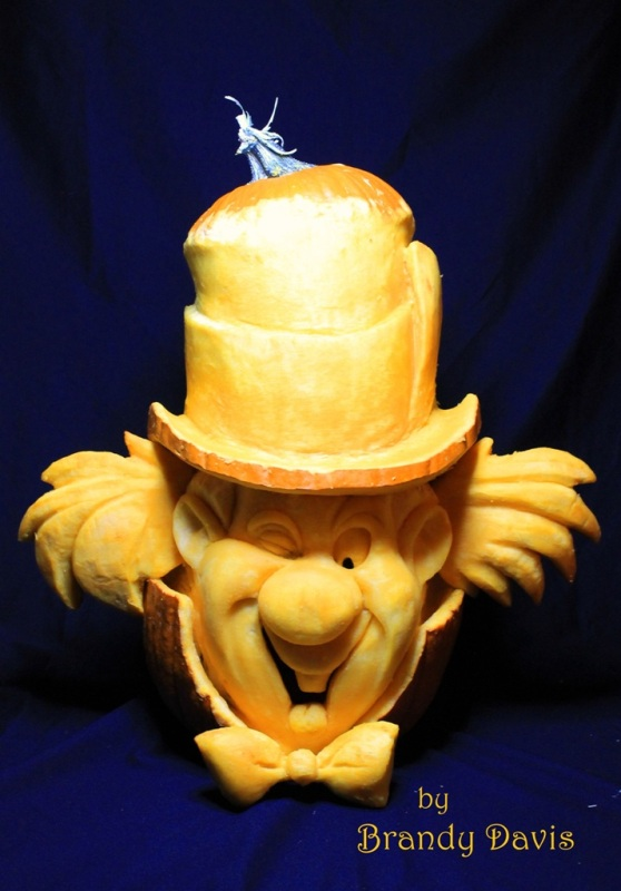 """Mad Hatter"" 3D Pumpkin Carving by Brandy Davis"