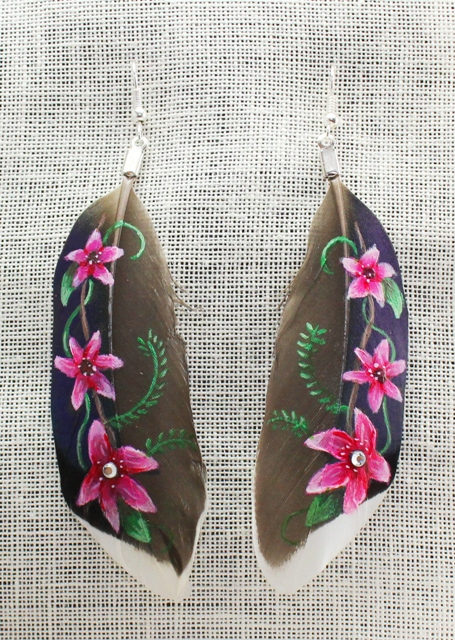 Painted Feather Earrings by Brandy Davis