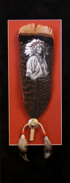 """""""Honor"""" by Brandy Davis. Acrylic on brown turkey tail. Full view."""