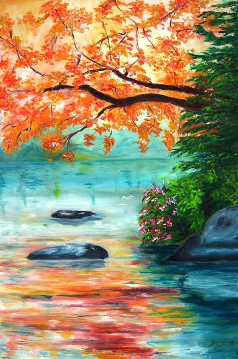 """The River"" Oil Painting by Doris Cohen"