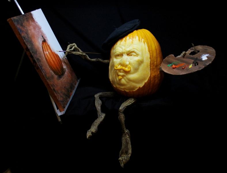 """""""The Pumpkin Artist""""  3D pumpkin by Brandy Davis"""